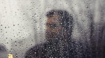 Man in the rain.