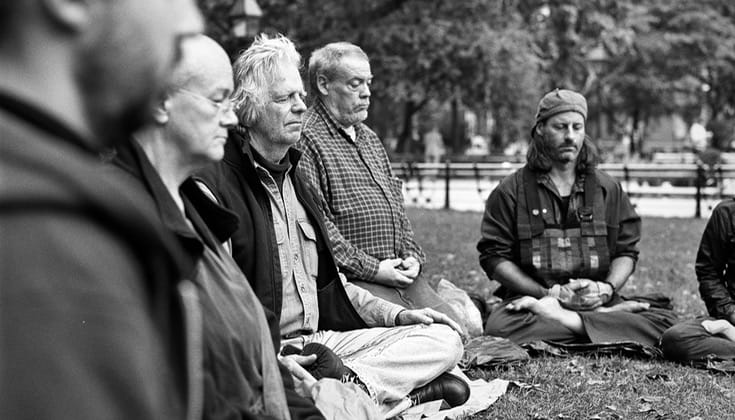 Zen practitioners meditating in Washington Square Park.