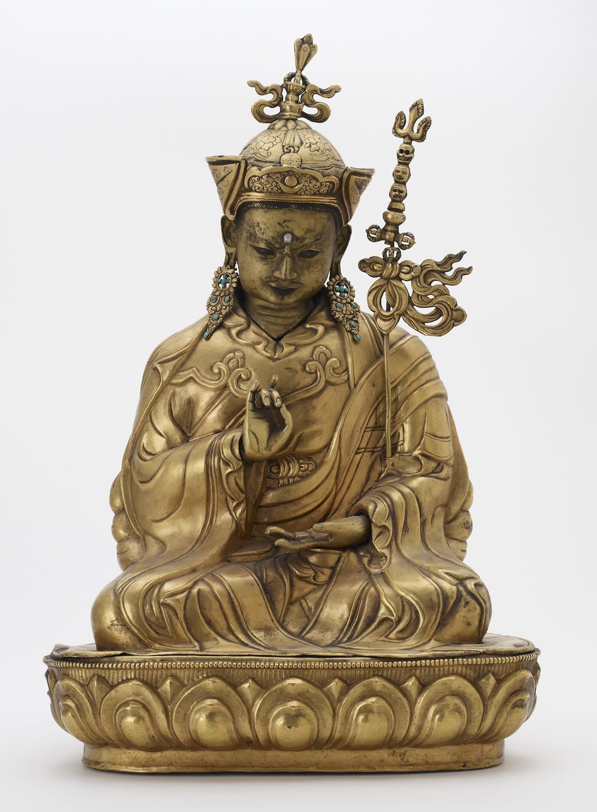 ; Central Tibet; first half of the 18th century; Gilt copper repoussé with cast head and hands and removable earrings; tourquoise; H x W: 53.3 x 35.6 cm (21 x 14 in); The Alice S. Kandell Collection