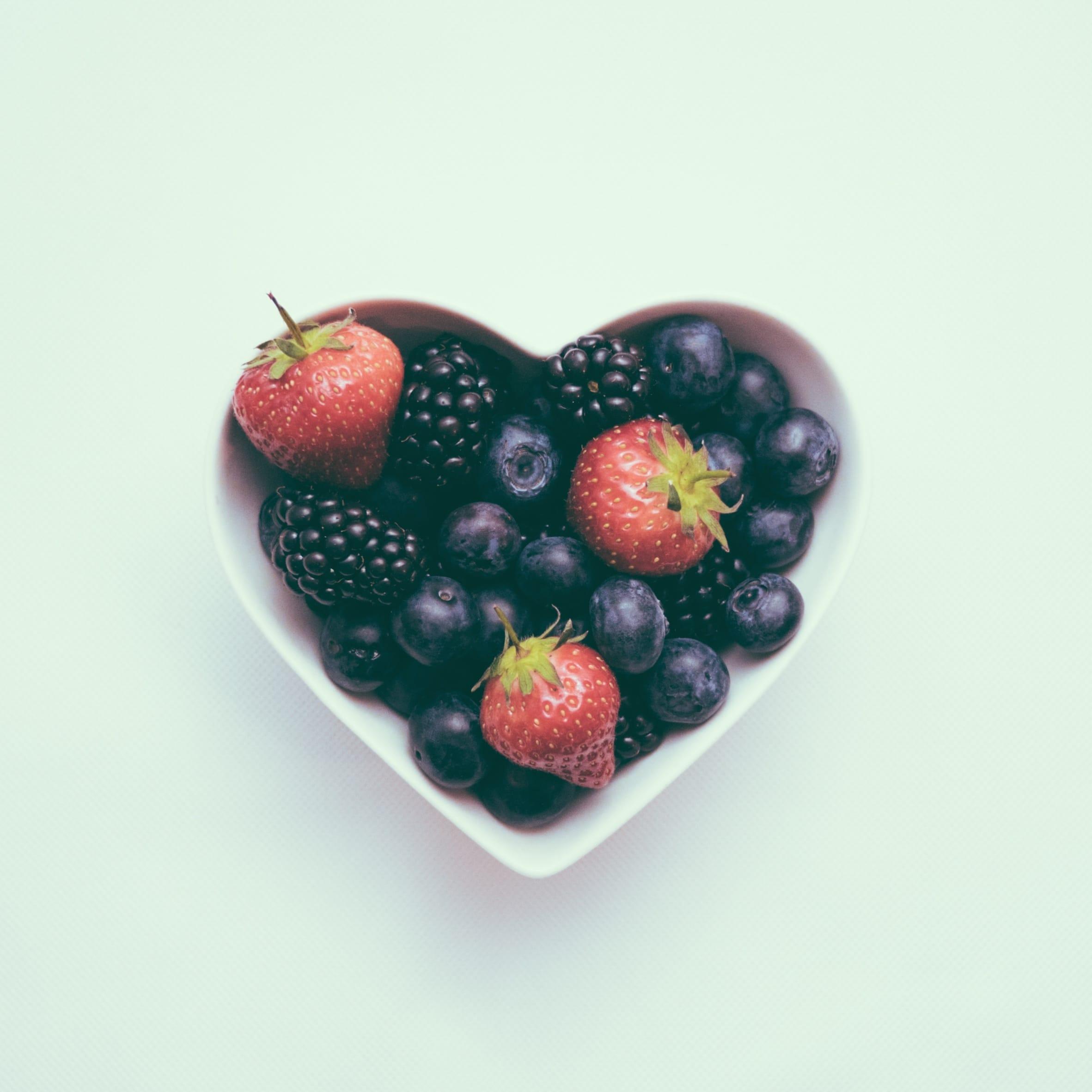 bowl of fruit in a heart shape