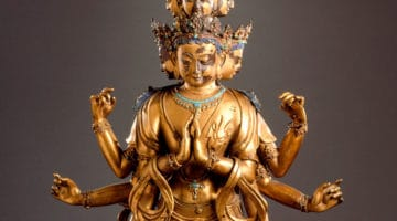 16th century sculpture of the eleven headed acalokiteshvara