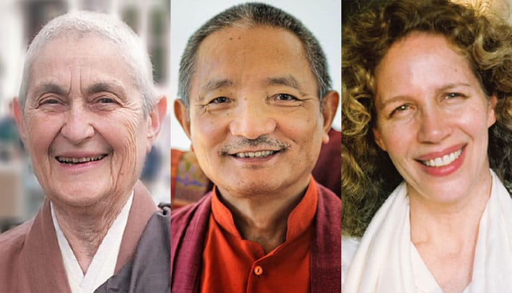 Blanche Hartman, Tulku Thondup Rinpoche, and Narayan Helen Liebenson.