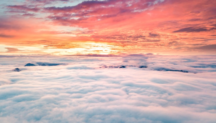 Colorful sky above the clouds