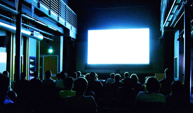 Blank screen at the cinema.