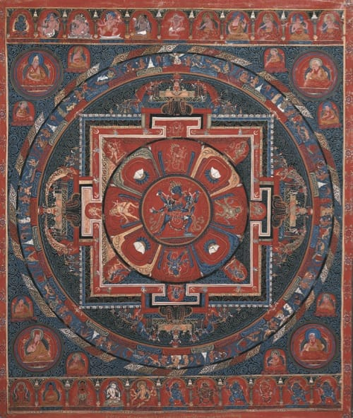 Chakrasamvara mandala. The five buddha family energies are represented in the center and four quadrants.