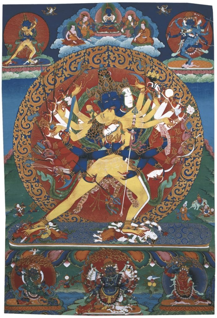 Kalachakra, a semi-wrathful deity in union with consort. Above center is the primordial buddha Vajrasattva flanked by two kings of Shambhala and two lamas; in the upper corners are yidams in union, and at the bottom are several protector deities.