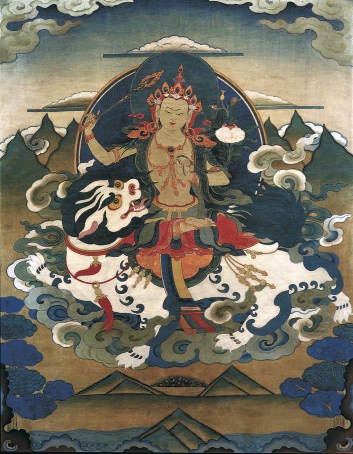 Manjushri Simhanada, a bodhisattva of wisdom, riding a lion.