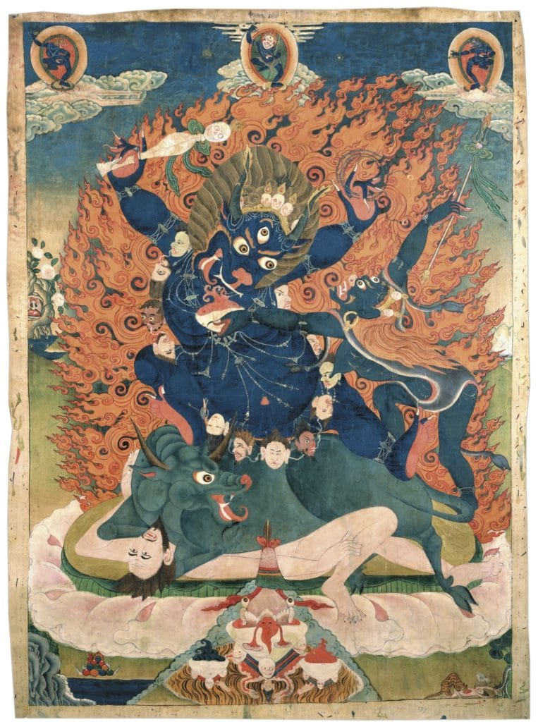 Protector Yama Dharmaraja, with the head of a buffalo. Above center is the dakini Simhamukha. Yama is a wisdom deity protector of anuttara yoga tantra.