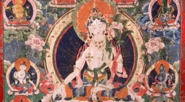 Tara - White. Tibet, 19th century, Gelug lineage, Ground Mineral Pigment Fine Gold Line on Cotton, Rubin Museum of Art, item no. 51 | www.himalayanart.org