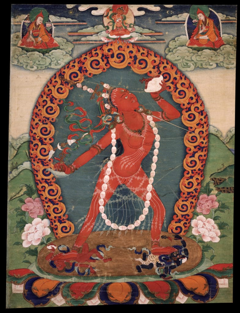 Vajrayogini (Naropa Tradition). Eastern Tibet, 19th century, Sakya, Ngor (Sakya) and Buddhist lineages,Ground Mineral Pigment on Cotton, Rubin Museum of Art, item no. 290 | www.himlayanart.org