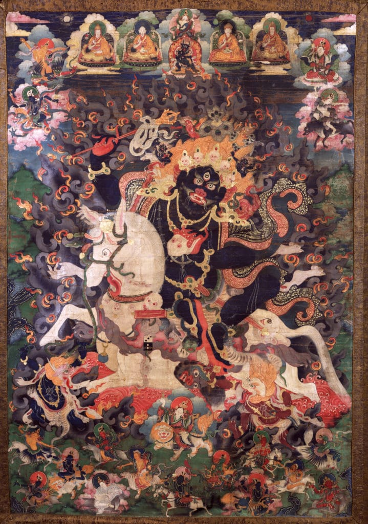 Shri Devi - Magzor Gyalmo. China, 19th century, Gelug lineage, Ground Mineral Pigment on Cotton, Rubin Museum of Art, item no. 441 | www.himalayanart.org