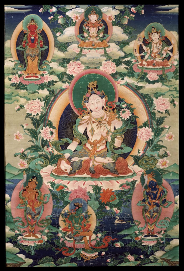 Tara - White. Tibet, 19th century, Gelug and Buddhist lineages, Ground Mineral Pigment on Cotton, Rubin Museum of Art, item no 542 | www.himalayanart.org