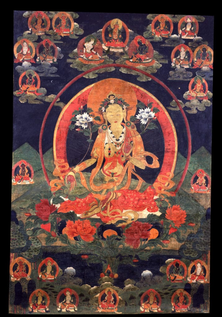 Tara - Green. Tibet, 18th century, Ground Mineral Pigment, Raised Gold on Cotton, Rubin Museum of Art, item no. 672 | www. himalayanart.org