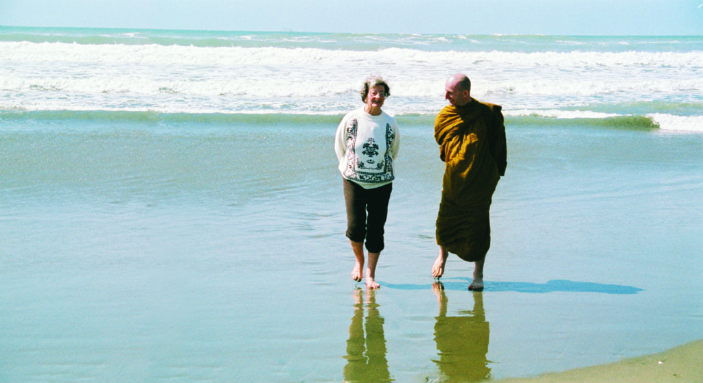 Ajahn Amaro with his mother. Photograph by Tony Horner.