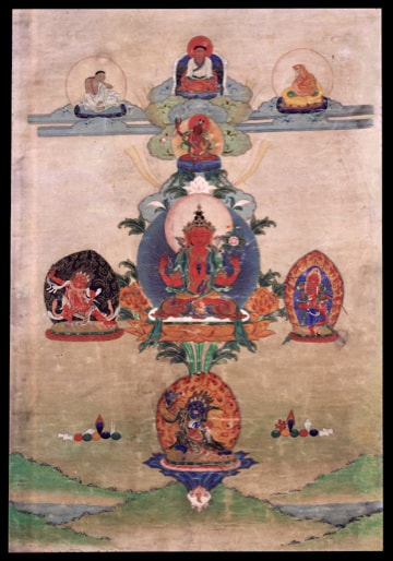 Vajrayana thangka painting with red bodhisattva at middle