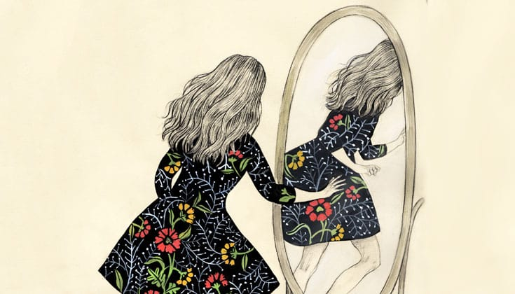 A drawing of a woman walking through a mirror.