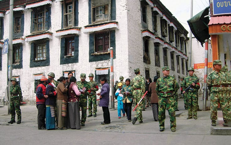 "The Orwellian ""grid management"" surveillance system is designed to manage Tibetan society. ""without gaps, without blind spots, without blanks,"" according to Chinese state media. Photo by Reuters / Kyoto (China)."