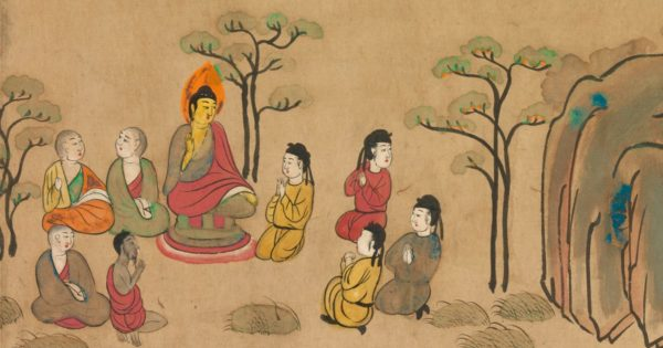 Painting of the Buddha preacahing.