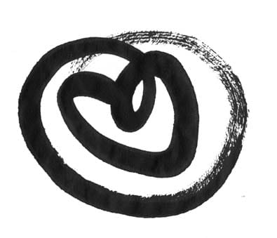 A drawing of a heart in a circle