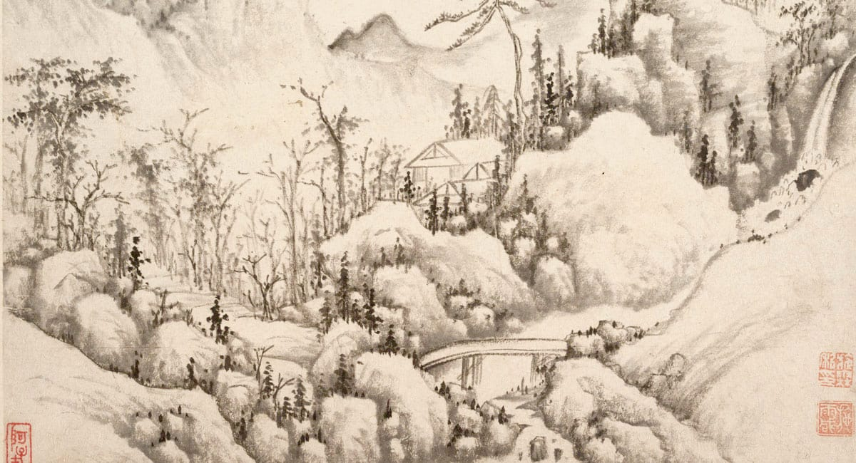 Traditional painting of a cabin in the mountains.