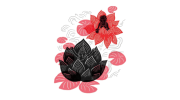 Illustration of a Buddha in a lotus.