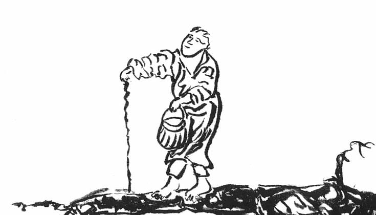 Illustration of man walking.