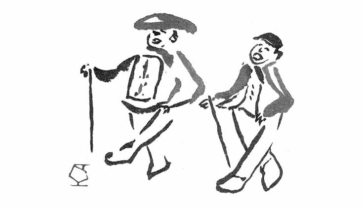 Illustration of two men walking.