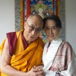 The Dalai Lama and Aung Sang Suu Kyi meet together in Prague, praise Vaclav Havel at human rights conference