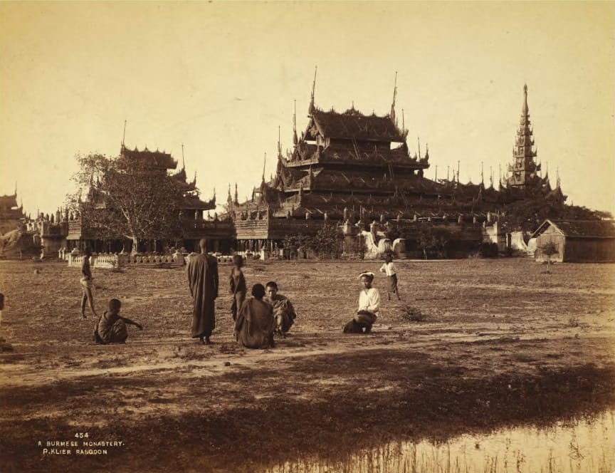 Old photo of a Buddhist building in Myanmar.