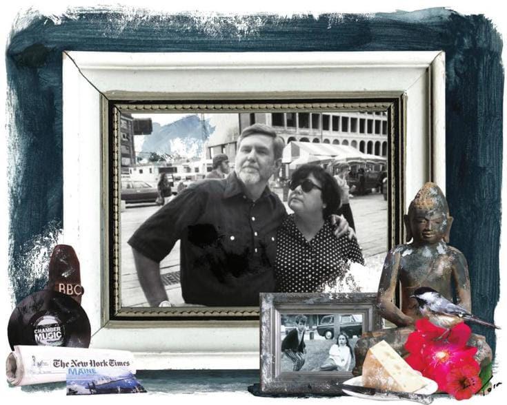 Photo of mom and dad in a frame.