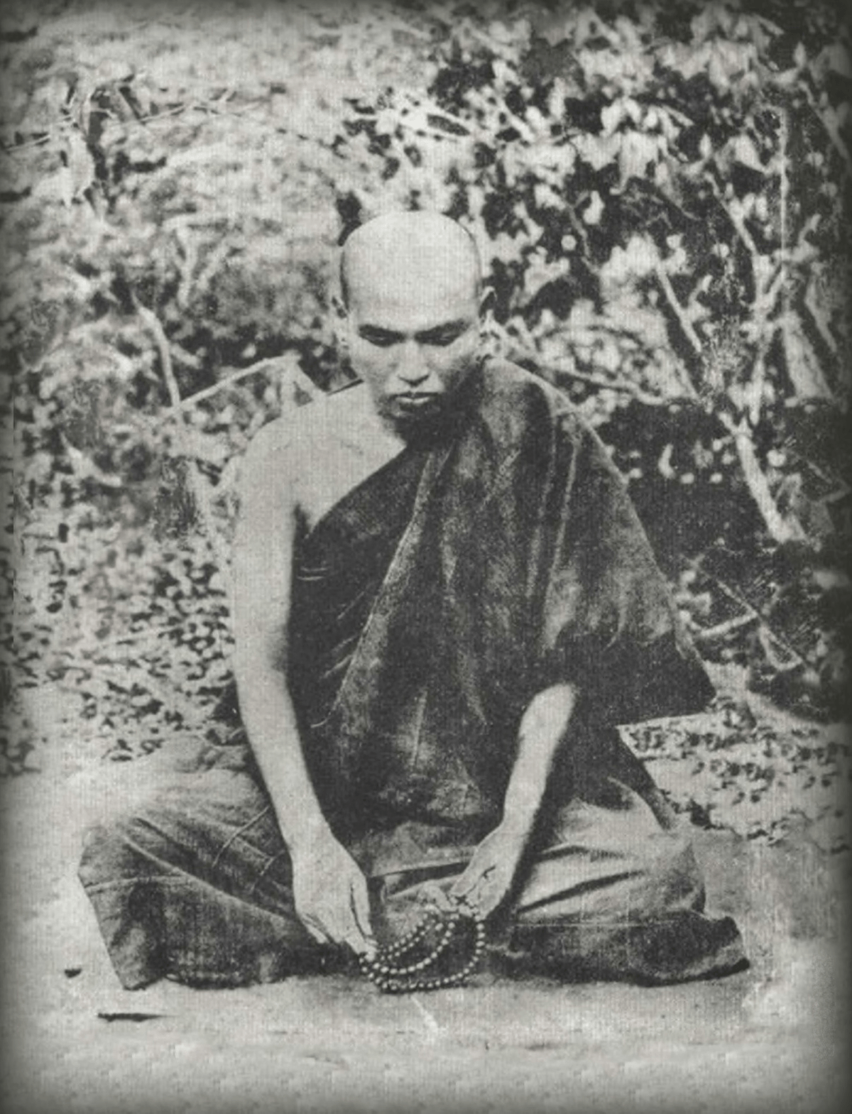 Monk Ledi Sayadaw sitting in meditation.