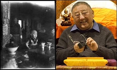 Gelek Rimpoche as a child in Tibet (photo taken by his father), and as an adult in Michigan.