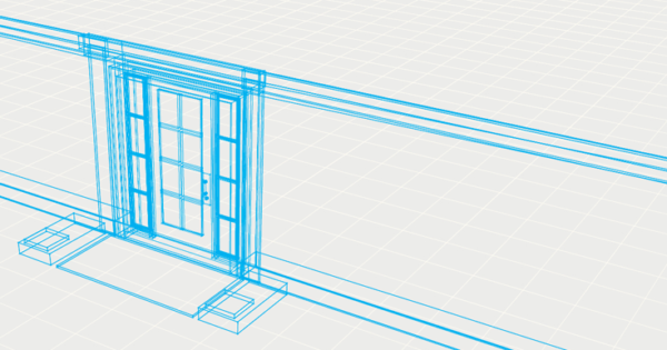 Architectural drawing of a door.