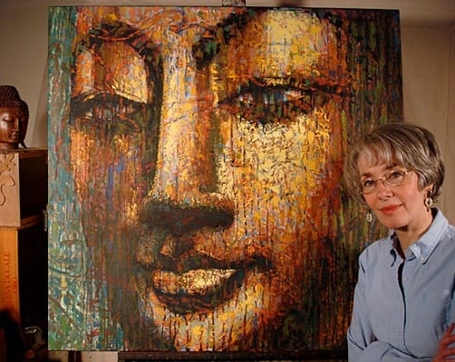 "Artist Virginia Peck with her painting, ""Beloved,"" 2007"