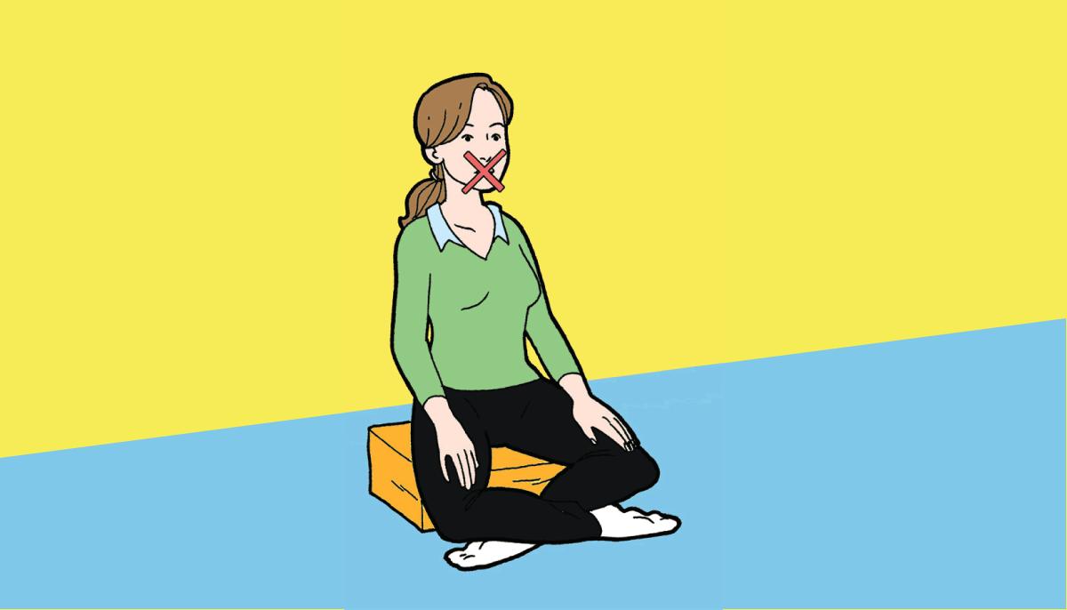 Woman not talking in meditation