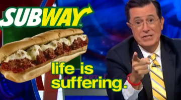 stephen colbert, subway, life is suffering