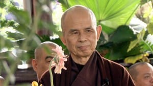 Thich Nhat Hanh in hospital with a flower.
