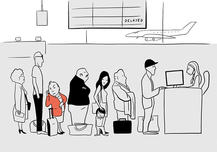 Illustration of a line at the airport.