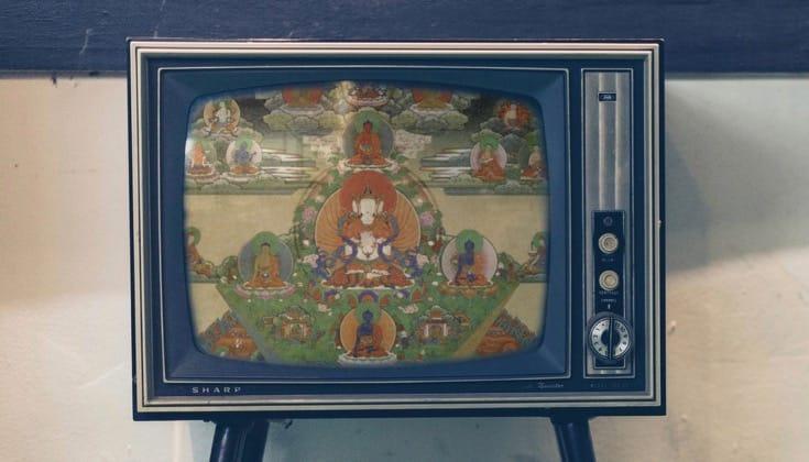 Thangka on a TV Screen.