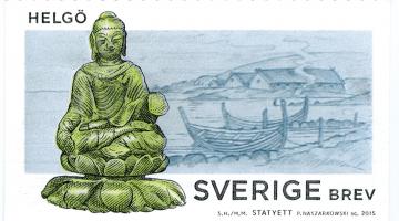 Buddha viking stamp Buddhist relic statue statuette Helgo archaeology history Sweden Scandinavia post stamp postage viking