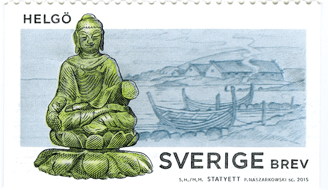 Buddha viking stamp Buddhist relic statue statuette Helgo archaeology history Sweden Scandinavia post stamp postage viking