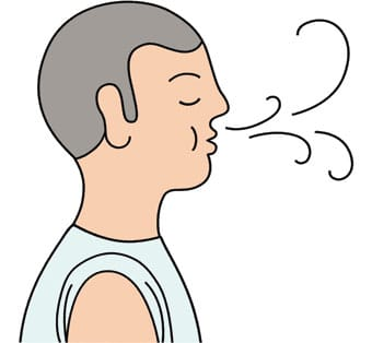 An illustrated man practices breath meditation.