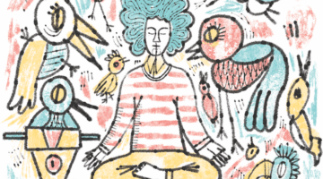 Person meditating surrounded by noise.