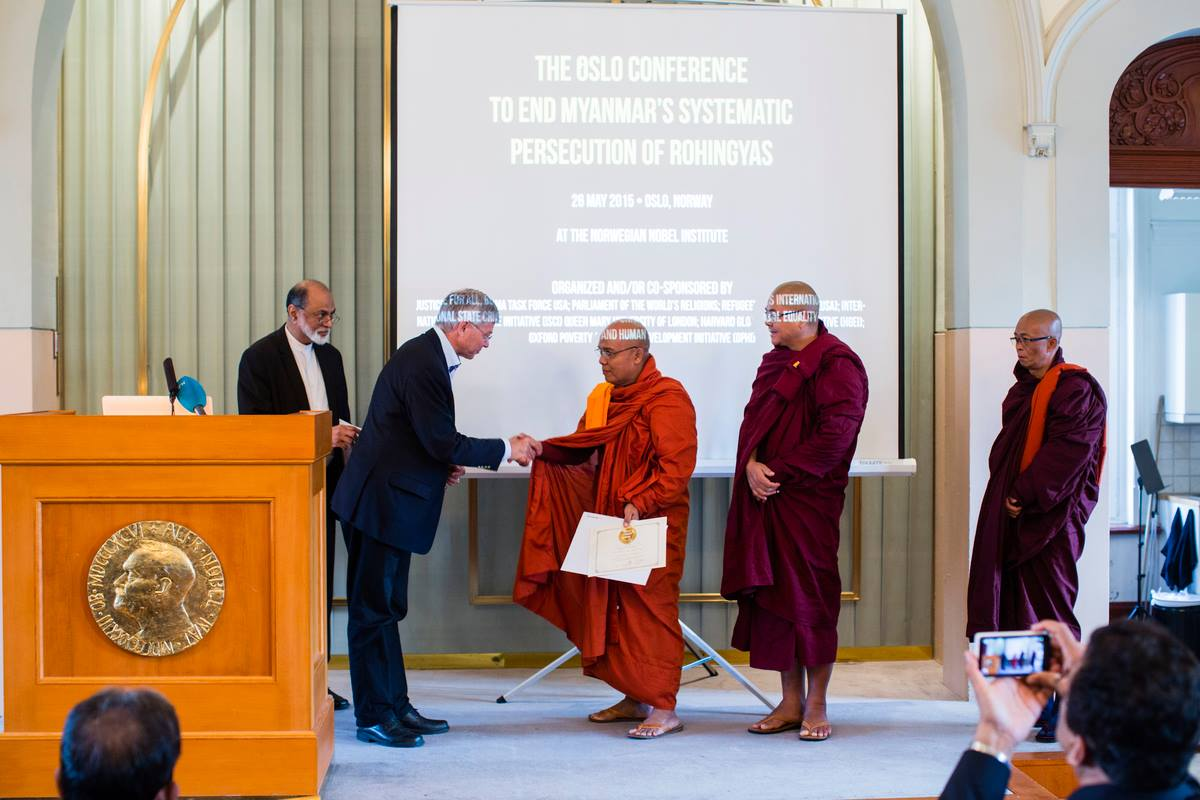 three burmese monks honored by parliament of world religions at nobel peace institute in oslo rohingya myanmar persecution lion's roar buddhism