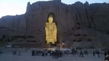 3d light projection laser hologram bamiyan buddhas afghanistan destroyed taliban lion's roar buddhism news
