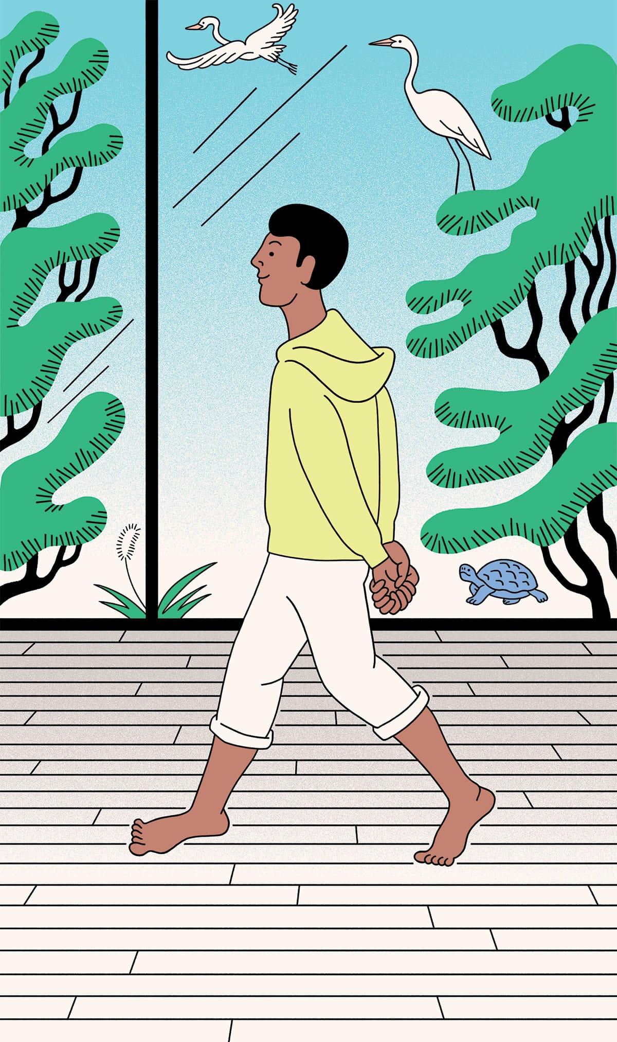 Man walking happily