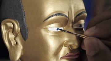 Statue, Buddhist, Lion's Roar, Eye, Open, Paint, Art, Nalanda, Video