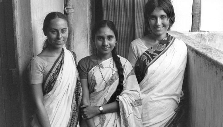 Salzberg (right) in India in 1972 with Dipa Ma's daughter, Dipa Barua (center), and IMS cofounder Jacqueline Mandell Schwartz (left). Photo courtesy of Insight Meditation Society.