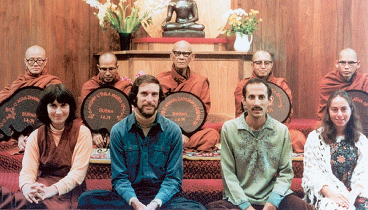 Burmese Vipassana master Mahesi Sayadaw (back row center) conducts a teacher authorization ceremony in 1979 for IMS founding members Sharon Salzberg, Joseph Goldstein, Jack Kornfield, and Jacqueline Mandell-Schwartz. Photo courtesy of Insight Meditation Society.