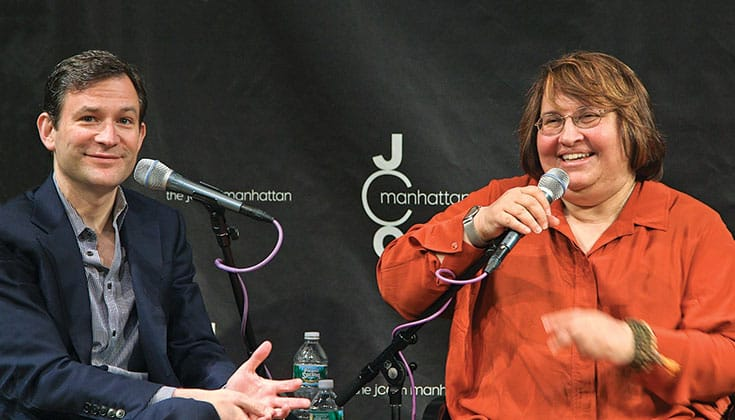 """""""You can't fail at meditation,"""" Salzberg tells ABC News anchor Dan Harris, author of <em>10% Happier</em>, in a panel discussion cosponsored by the Lion's Roar Foundation. <a href=""""http://www.lionsroar.com/cant-fail-meditation/"""">Read the whole discussion</a>. Video capture by Edward Boyce."""